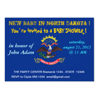 Baby Shower Invitation with Flag of North Dakota