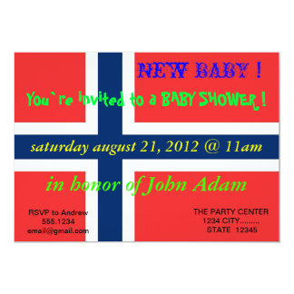 Baby Shower Invitation with Flag of Norway