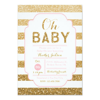 Baby Shower Invitation with Pink and Gold Glitter