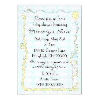 Baby Shower Invitation. Yellow/Blue/Castle 13 Cm X 18 Cm Invitation Card