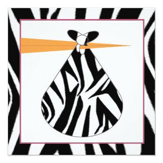 Baby Shower Invitation - Zebra Print Stork