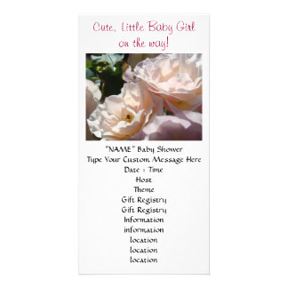 Baby Shower invitations Rose Cute Little Baby Girl Personalised Photo Card