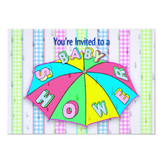 BABY SHOWER INVITATIONS - Umbrella/Gingham Stripes