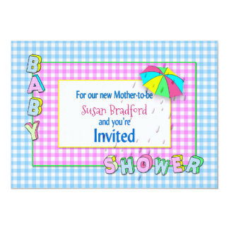 BABY SHOWER INVITATIONS - Umbrella with rain