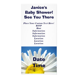Baby Shower! Invitations White Daisy Flowers Photo Greeting Card