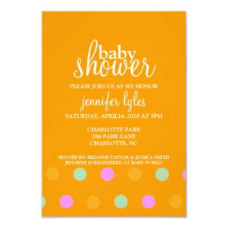 "Baby Shower Invite - Dots II - orange 3.5"" X 5"" Invitation Card"