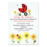 Baby Shower Invite - Ladybugs and Wildflowers 13 Cm X 18 Cm Invitation Card