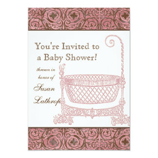 Baby Shower Invite - Pink Brown Damask Cradle