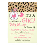 Baby Shower Invite - Pink Diaper Pin & Leopard 13 Cm X 18 Cm Invitation Card