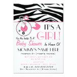Baby Shower Invite - Pink Diaper Pin & Zebra Print 13 Cm X 18 Cm Invitation Card