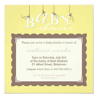BABY SHOWER INVITES :: baby letters 7SQ 13 Cm X 13 Cm Square Invitation Card