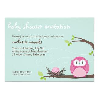 "BABY SHOWER INVITES :: owl + nest 3L 5"" X 7"" Invitation Card"