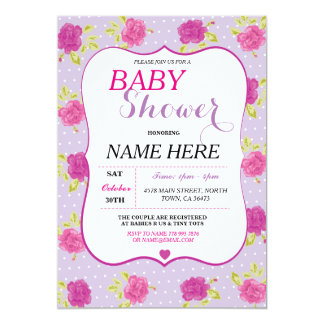 Baby Shower It's a Girl Party Purple Floral Invite