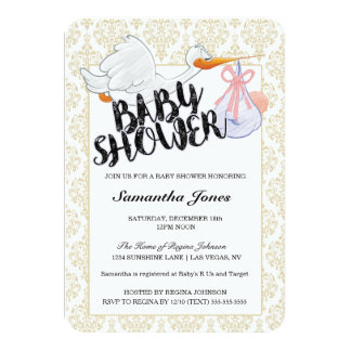 Baby Shower It's a Girl Stork Carrying Baby Girl 9 Cm X 13 Cm Invitation Card