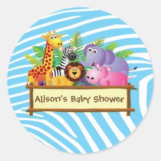 Baby shower jungle safari theme stickers favours