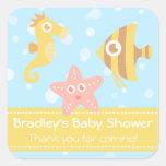 Baby Shower: Kawaii cartoon underwater creatures Square Sticker