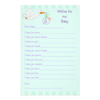 Baby Shower Keepsake - Wishes for Baby Stationery
