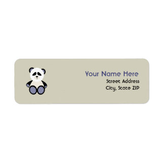 Baby Shower Label - Blue Gingham Panda Return Address Label
