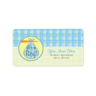 Baby Shower Label - Blue Plaid Stork - It's A Boy