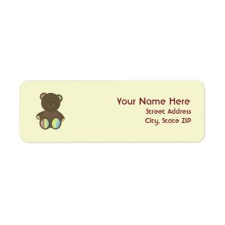 Baby Shower Label - Boho Dots Stuffed Bear Return Address Label