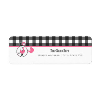 Baby Shower Label - Gingham & Diaper Pin Return Address Label