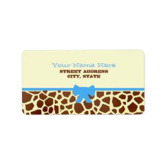 Baby Shower Label - Giraffe Print & Blue Address Label
