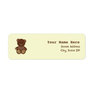 Baby Shower Label - Giraffe Print Stuffed Bear Return Address Label