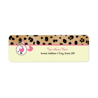 Baby Shower Label - Leopard Print & Diaper Pin Return Address Label