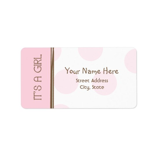 Baby Shower Label - Pink & Brown - It's A Girl Address Label