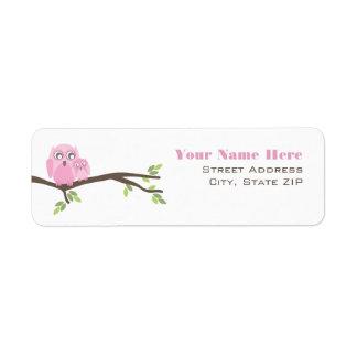 Baby Shower Label - Pink Mother & Baby Owl Return Address Label