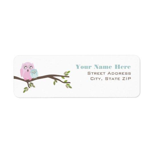 Baby Shower Label - Pink Mother & Blue Baby Owl Return Address Label