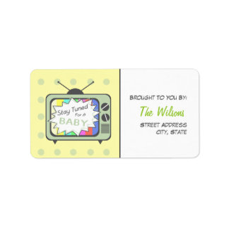 Baby Shower Label - Stay Tuned For A Baby Address Label