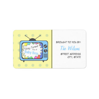 Baby Shower Label - Stay Tuned For A Baby Boy Address Label