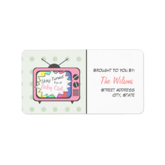 Baby Shower Label - Stay Tuned For A Baby Girl Address Label