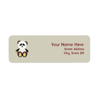 Baby Shower Label - Striped Panda Return Address Label