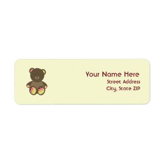 Baby Shower Label - Striped Stuffed Bear Return Address Label