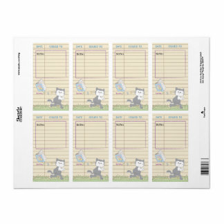 Baby Shower Library Book Bookplate Sheet of 8/Blue Shipping Label