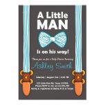Baby Shower Little Man Invitation Bow Tie Blue