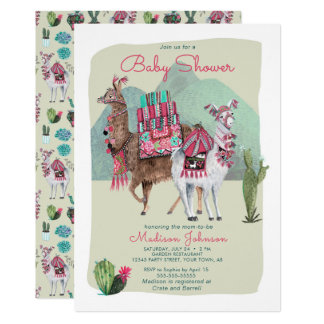 Baby Shower | Llamas & Cactus | Invitations