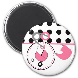 Baby Shower Magnet - Polka Dot & Pink Diaper Pin