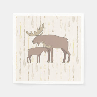Baby Shower mama and baby moose napkins Paper Napkin
