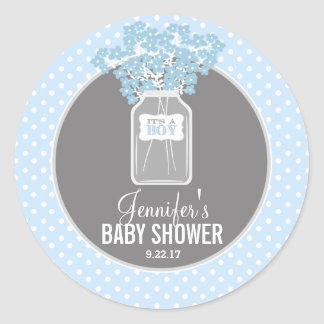 Baby Shower Mason Jar (blue) Round Sticker