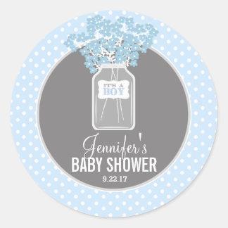 Baby Shower Mason Jar (blue) Round Sticker