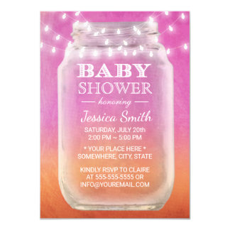 Baby Shower Mason Jar & String Light Watercolor Card