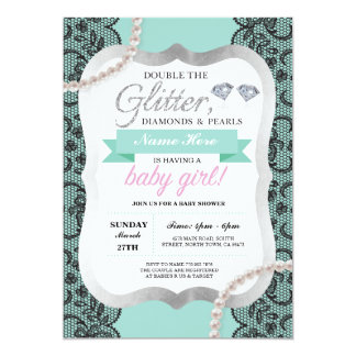Baby Shower Mint Lace Glitter Bow Girl Mom Invite