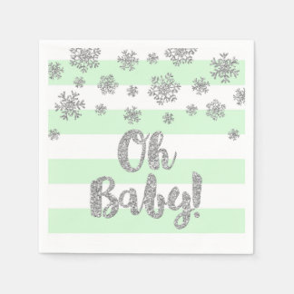 Baby Shower Mint Stripes Silver Snowflakes Paper Napkin