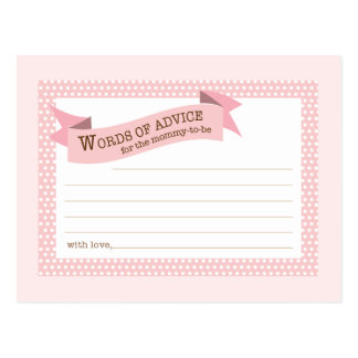 Baby Shower Mom Advice Card Pink Polka Dot