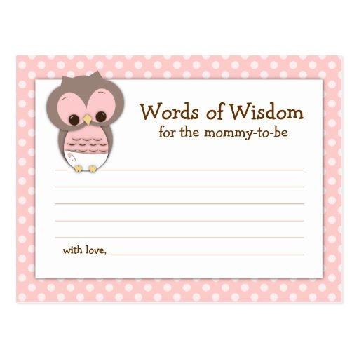 Mums Baby Shower: Baby Shower Mum Advice Card Pink Sleepy Owl Postcard