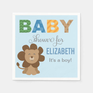 Baby Shower Napkins | Lion Jungle Animal Paper Serviettes