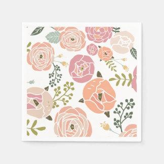 Baby Shower Napkins - Vintage Rose Disposable Napkin